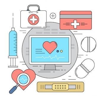 Estilo Linear Vector Elementos ícones médicos coloridos Fundos