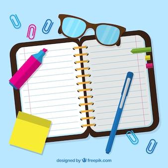 Estilo notebook plano com clips