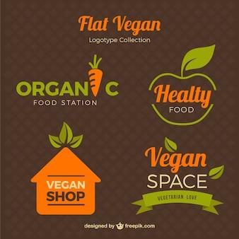 estilo plano Logos para comida vegetariana