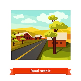 Estrada rural atravessando o campo da vila