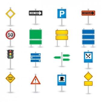 Estrada Set ícone do sinal
