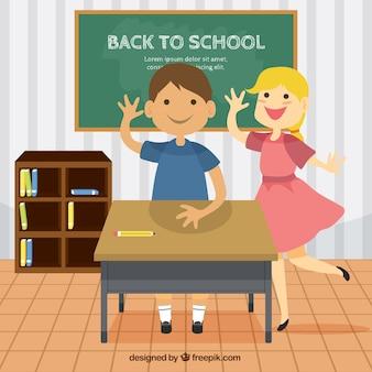 Estudantes adoráveis na ilustração classe