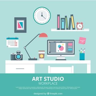 Estúdio de arte em design plano