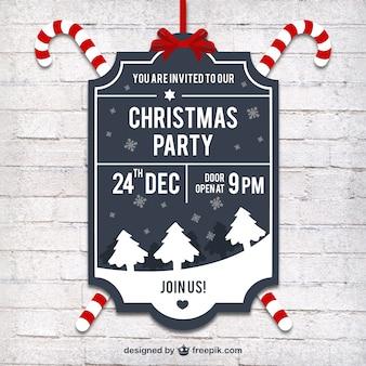 Etiqueta da festa de Natal no estilo retro