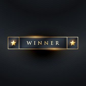 Etiqueta do vencedor ou projeto da etiqueta na cor escura