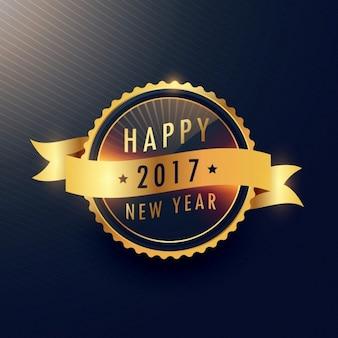 Etiqueta dourada feliz ano novo com a fita ondulada
