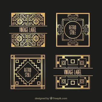 Etiqueta dourada no estilo retro