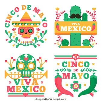 Etiquetas bonitos do partido de México no projeto liso