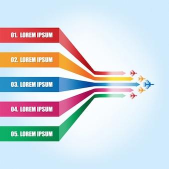 etiquetas coloridas com aviões