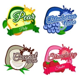 Etiquetas coloridas com frutas diferentes em design plano