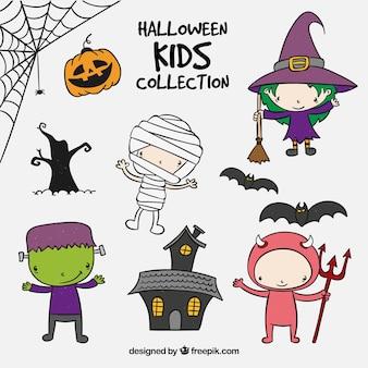 Etiquetas com crianças do Halloween