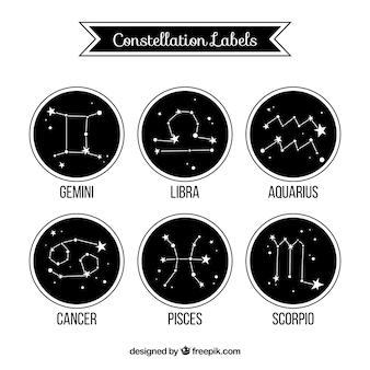 Etiquetas constelação de Zodíaco