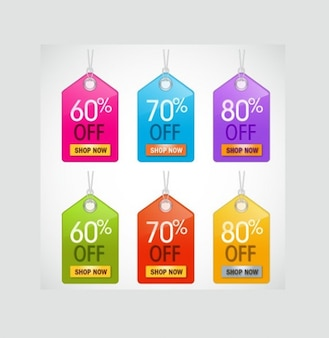 Etiquetas da venda de comércio eletrônico brilhantes coloridos definido