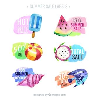 Etiquetas da venda do alimento do verão