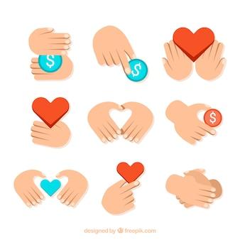 Etiquetas de caridade em design plano