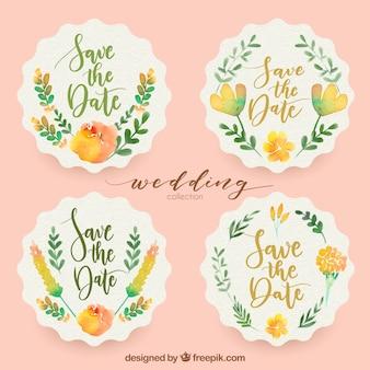Etiquetas de casamento de aquarela
