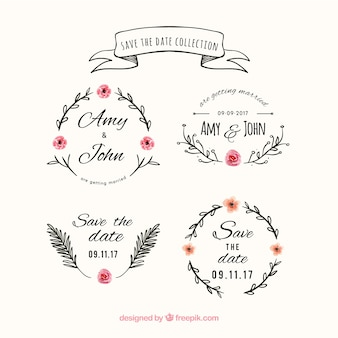 Etiquetas de casamento floral com estilo vintage