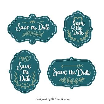 Etiquetas de casamento vintage com estilo divertido
