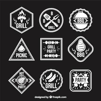 etiquetas de churrasco com diferentes formas