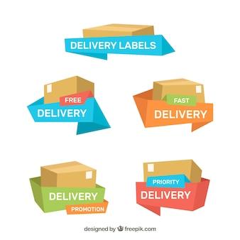 Etiquetas de entrega com caixas e fitas