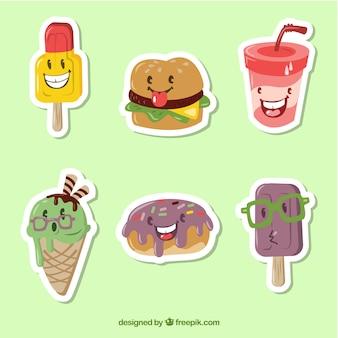 Etiquetas de fast food com estilo engraçado