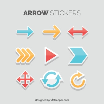 Etiquetas de flecha divertidas com estilo colorido