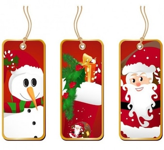 Etiquetas de Natal festiva com papai noel