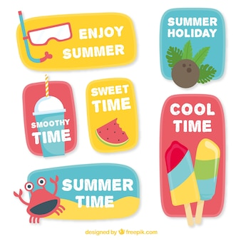 Etiquetas de verão com mensagens