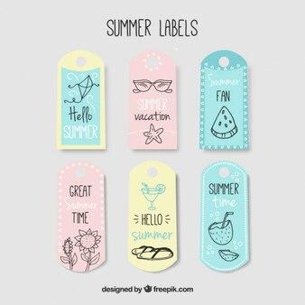 etiquetas de verão encantadores com desenhos em tons suaves