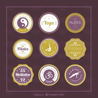 Etiquetas de vetores de ioga e pilates