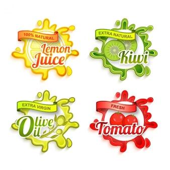 Etiquetas decorativas com diferentes produtos e cores