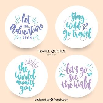 Etiquetas decorativas com mensagens de viagem