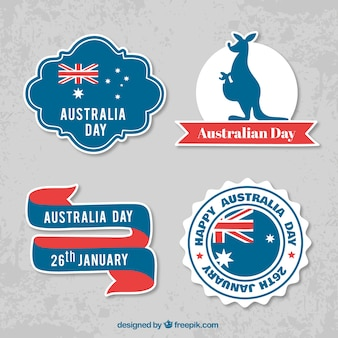 Etiquetas decorativas do dia de Austrália com detalhes vermelhos
