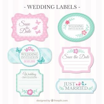 Etiquetas do casamento ornamentais no estilo do vintage