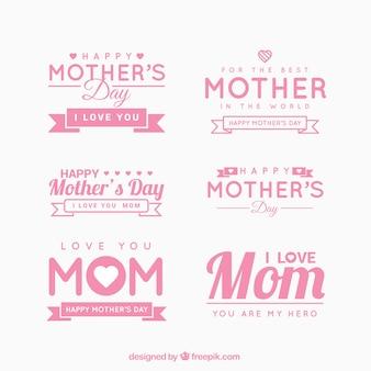 Etiquetas do dia das mães bonito