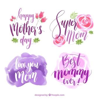 Etiquetas do dia das mães coloridas no estilo da aguarela