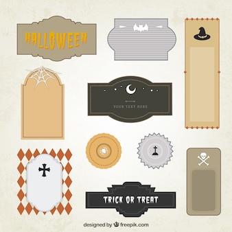 Etiquetas e emblemas do Dia das Bruxas