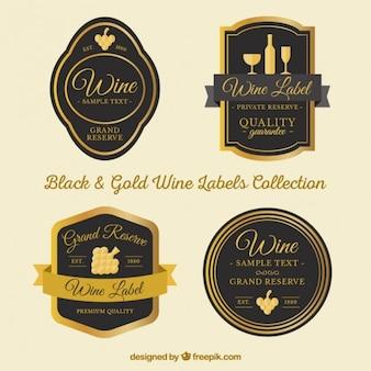 Etiquetas elegantes de vinho com detalhes dourados