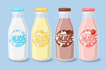Etiquetas em garrafas de leite.