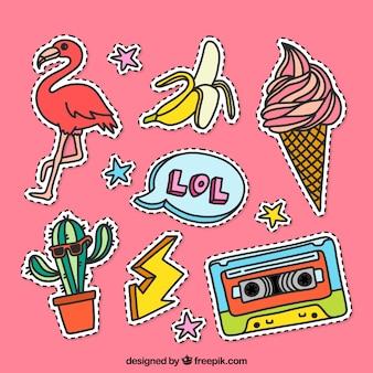 Etiquetas engraçadas com estilo colorido
