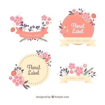 Etiquetas florais decorativas em cores pastel
