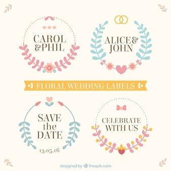 Etiquetas florais do casamento