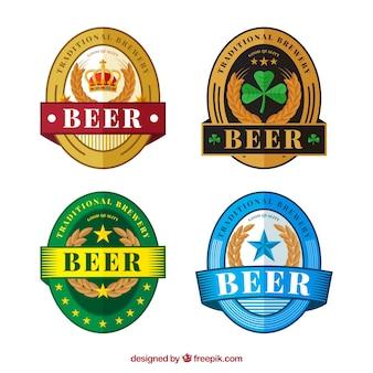 Etiquetas ovais da cerveja no estilo do vintage