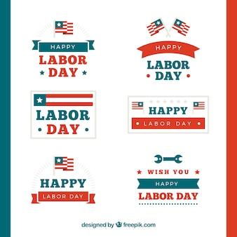 Etiquetas para o dia do trabalho com bandeiras americanas