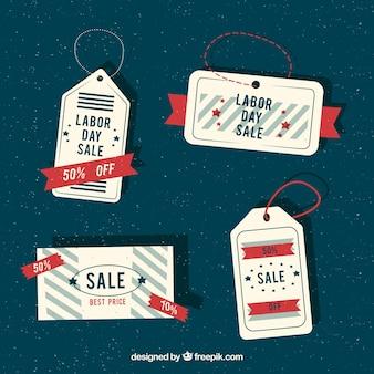 Etiquetas retros das vendas do dia do trabalho