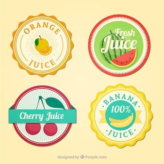 etiquetas sucos de frutas arredondadas