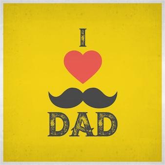 Eu amo o paizinho e a forma vermelha do coração no fundo amarelo do grunge para celebrações felizes do dia de pais Projeto da bandeira ou do insecto do poster com texto à moda