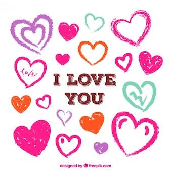 Eu te amo cartão com corações desenhados mão