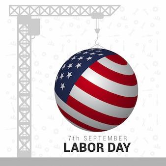 EUA 3D esférico Mapa EUA Dia do Trabalho