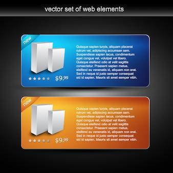 Exibição de produtos na web e item de venda em duas cores